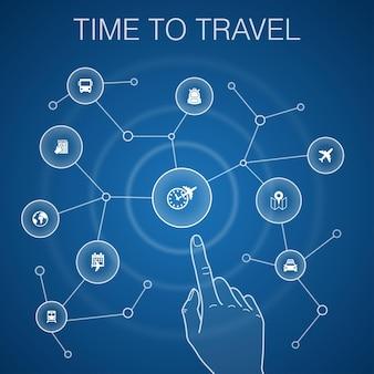 Concept de temps pour voyager, arrière-plan bleu. réservation d'hôtel, carte, avion, icônes de train