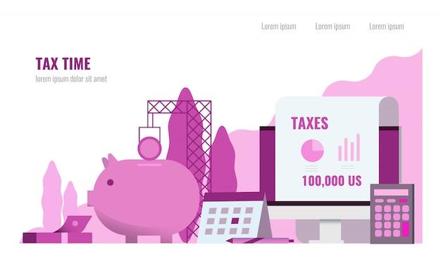 Concept de temps de taxe.