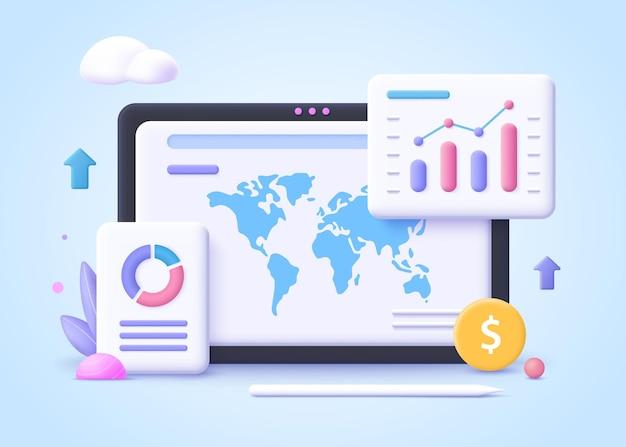 Concept de tendance commerciale. analyse des tendances, commerce international, partenariat
