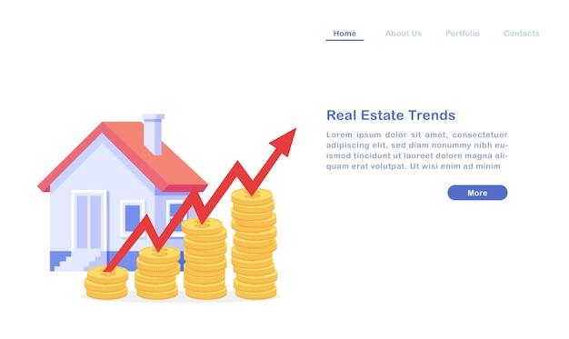 Concept de tendances immobilières de page de destination
