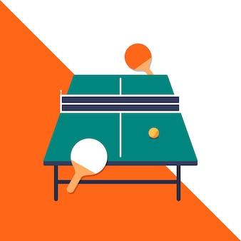 Concept de tennis de table avec des palettes