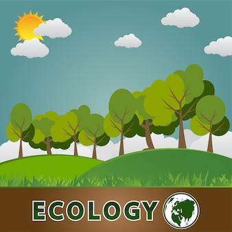 Concept de terre verte avec des feuilles