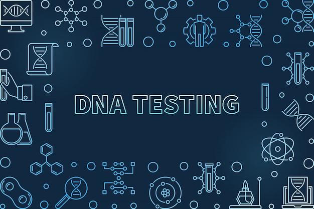 Concept de test adn icônes linéaires bleues