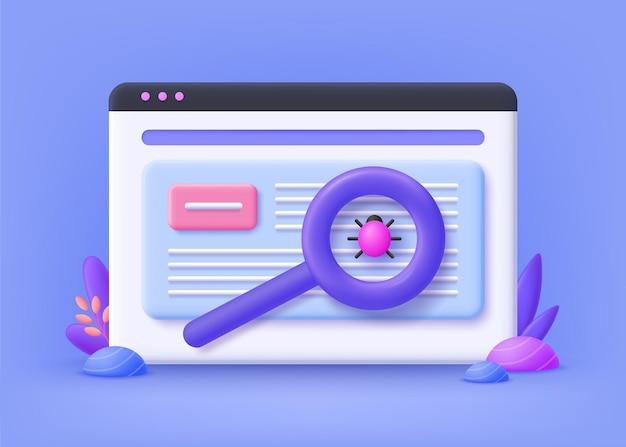 Concept de test bêta, test de nouveaux produits, vérification des performances des applications. gestion de projets informatiques. illustration 3d