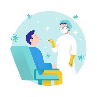 Concept de test d'écouvillonnage nasal de coronavirus