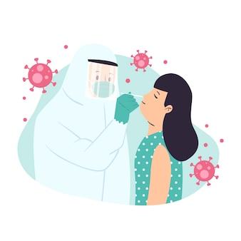 Concept de test d'écouvillonnage nasal