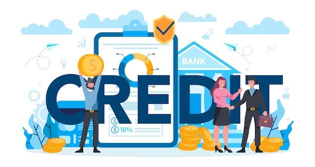 Concept d'en-tête typographique de crédit. un employé de banque travaille avec un prêt ou une hypothèque aux particuliers et aux entreprises. idée de revenu financier, d'économie d'argent et de richesse. illustration vectorielle dans un style plat