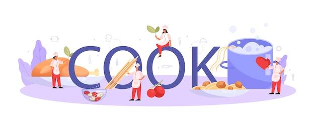 Concept d'en-tête typographique cuisinier ou spécialiste culinaire.