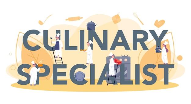 Concept d'en-tête typographique cuisinier ou spécialiste culinaire