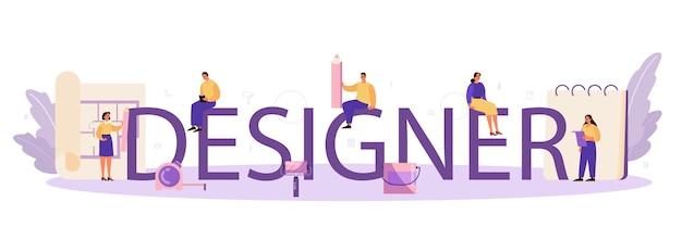 Concept d'en-tête typographique de designer d'intérieur