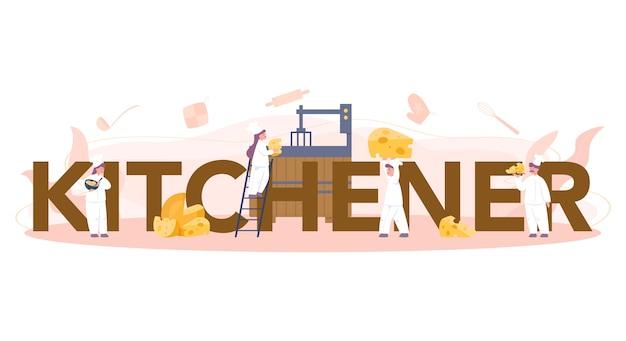 Concept d'en-tête typographique de fabricant de fromage