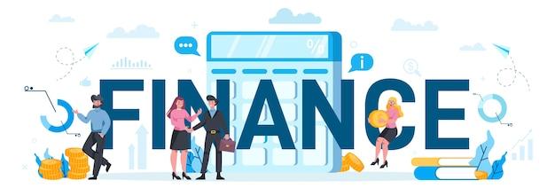 Concept d'en-tête typographique de finances. caractère commercial faisant des opérations bancaires: transfert d'argent et investissement. budget de construction.