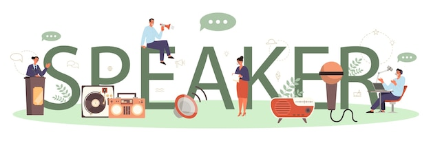 Concept d'en-tête typographique haut-parleur ou commentateur professionnel. peson parlant à un microphone. diffusion ou discours public. conférencier de séminaire d'entreprise. illustration vectorielle isolé