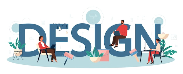 Concept d'en-tête typographique intérieur. rénovation de la maison. décorateur qui planifie une pièce. idée de pensée créative. travailler comme euh. abstrait