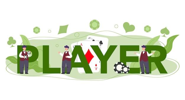Concept d'en-tête typographique de joueur de casino