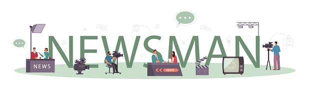 Concept d'en-tête typographique news man. animateur de télévision en studio.