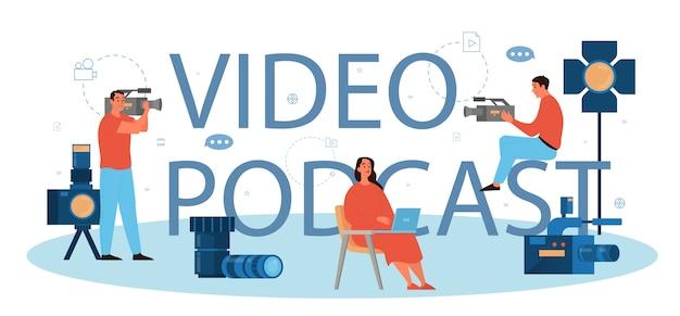 Concept d'en-tête typographique de podcast vidéo