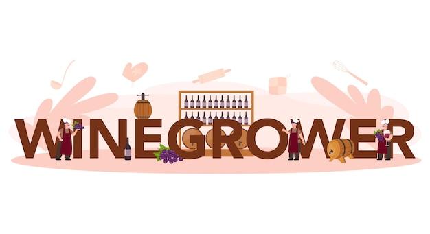 Concept d'en-tête typographique de vigneron