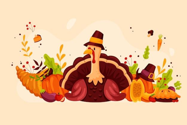 Concept de thanksgiving dessiné à la main
