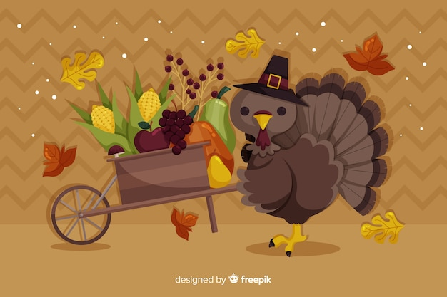 Concept de thanksgiving avec fond design plat