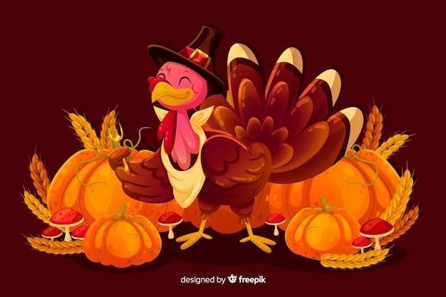 Concept de thanksgiving avec fond design plat