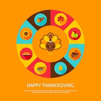 Concept de thanksgiving heureux. illustration vectorielle. infographie de vacances d'automne.