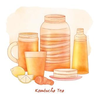Concept de thé aquarelle kombucha