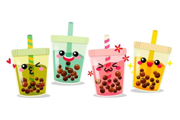 Concept de thé à bulles kawaii