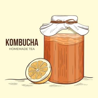 Concept de thé kombucha dessiné à la main