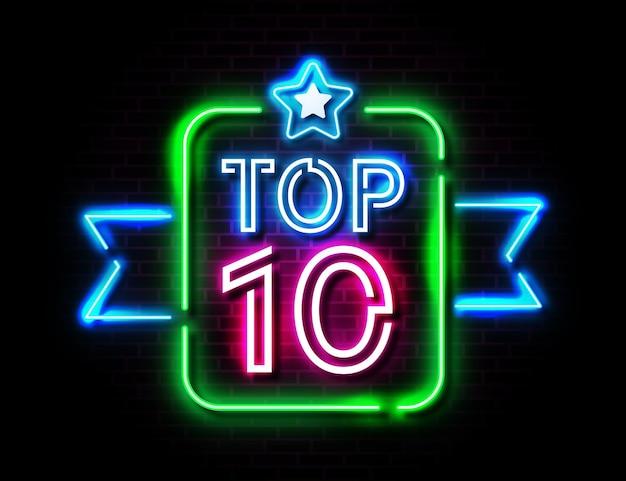 Concept de top 10 néon