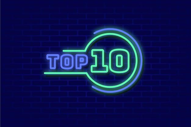Concept de top 10 des néons