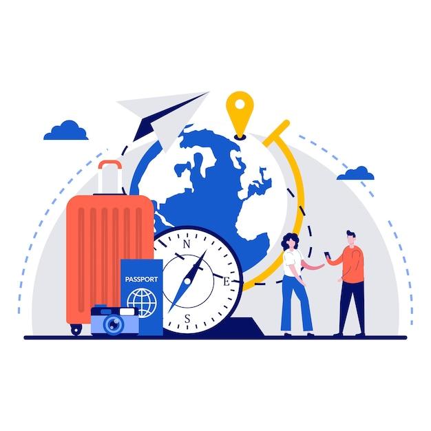 Concept de tourisme international avec un caractère minuscule