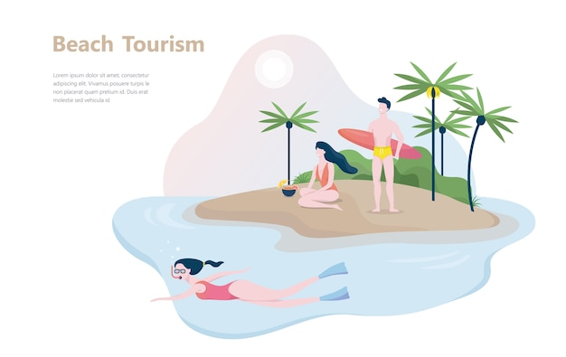 Concept de tourisme de plage. idée de vacances d'été