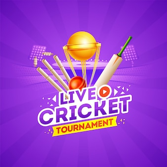 Concept de tournoi de cricket en direct avec des éléments de cricket