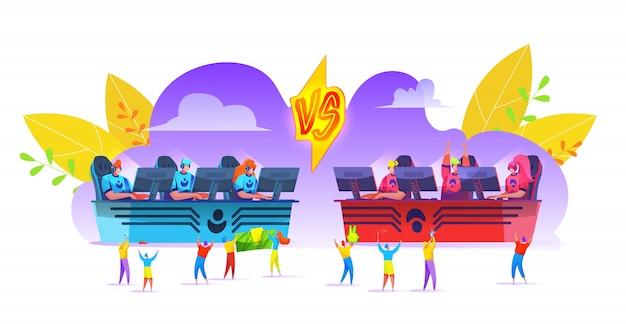 Concept de tournoi cybersport avec des équipes de joueurs professionnels célébrant la victoire. équipe e-sports assis devant des moniteurs pc. hommes plats, fille jouant à des jeux en ligne