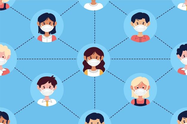 Concept de traçage des contacts de coronavirus