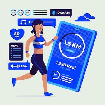 Concept de tracker fitness design plat