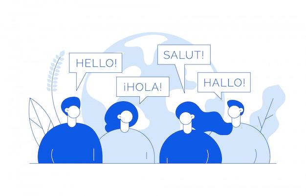 Concept de traduction avec des personnes