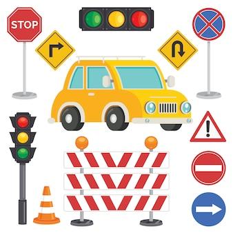 Concept de trafic avec des lumières et des équipements