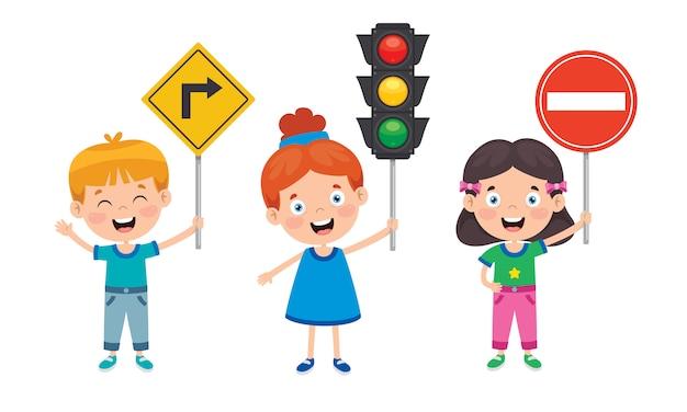 Concept de trafic avec des personnages drôles