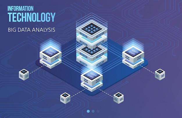 Concept de traitement de données volumineuses, centre de données isométrique, traitement et stockage d'informations vectorielles. illustration créative avec des éléments géométriques abstraits.