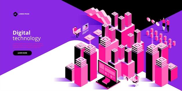 Concept de traitement de données volumineuses, illustration isométrique du centre de données