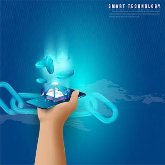 Concept de traitement de données volumineuses, station d'énergie du futur, centre de données, crypto-monnaie et isométrique blockchain