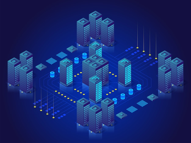 Concept de traitement de données volumineuses, station d'énergie du futur, rack de salle des serveurs, illustration isométrique du centre de données