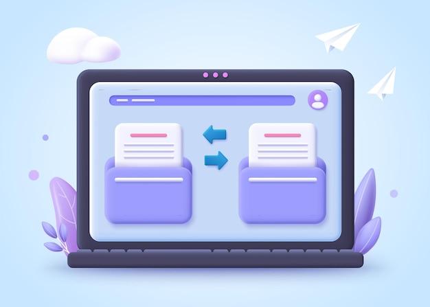 Concept de transfert de fichiers. deux dossiers avec transfert de documents et de fichiers. illustration 3d.