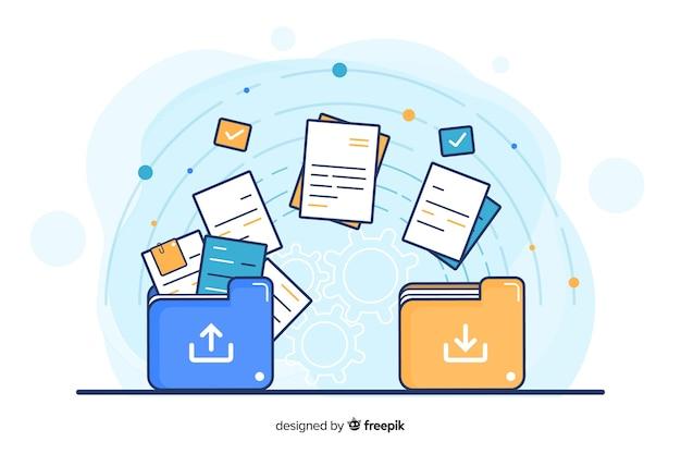 Concept de transfert de fichiers pour la page de destination
