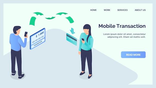 Concept de transfert de transaction mobile pour la page d'accueil d'atterrissage de modèle de site web avec un plat isométrique moderne