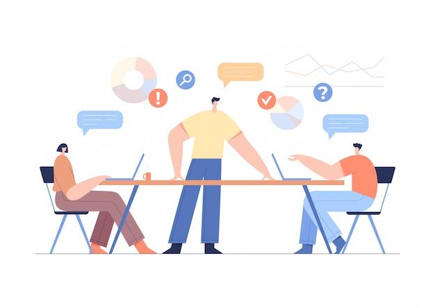 Concept de travail de bureau, partenariat d'équipe. remue-méninges d'entreprise, graphiques et analyse des statistiques.