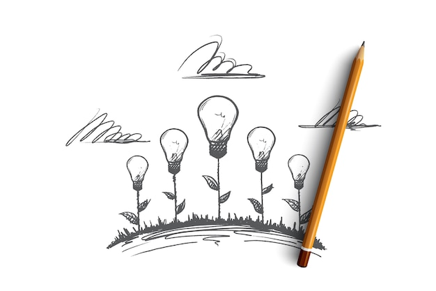 Concept de travail créatif. illustrations créatives dessinées à la main de fleurs. la naissance d'une idée. lampe à incandescence le symbole de l'illustration isolée idée créative.