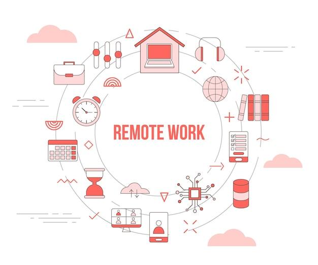 Concept de travail à distance avec bannière de modèle de jeu d'icônes avec style de couleur orange moderne et illustration de forme ronde cercle